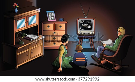 Family watching TV, decade of the 1970's, vector illustration - stock vector