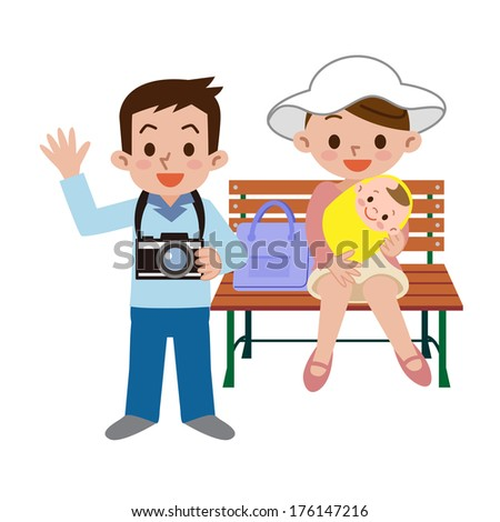 Family with a camera - stock vector