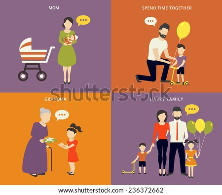 Family with children kids people concept flat icons set of parenting, time spending and being a grandmother - stock vector