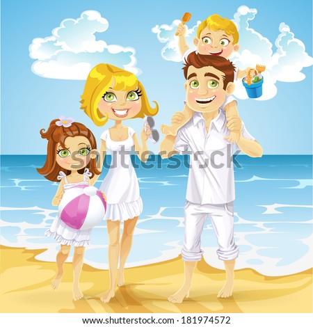 Family with children on sunny ocean beach - stock vector