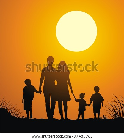 Family with children walk on a sunset - stock vector