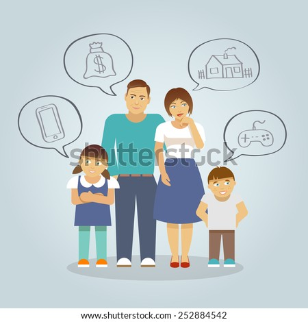 Family with parents and girl and boy children dreaming of money house and toys flat vector illustration - stock vector