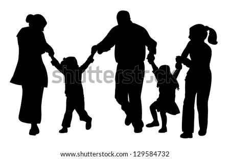 family with tree children having fun,playing, running, silhouette vector - stock vector