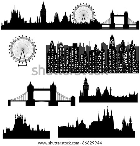 Famous architectural monuments and landmarks - London, Prague and modern city - vector - stock vector
