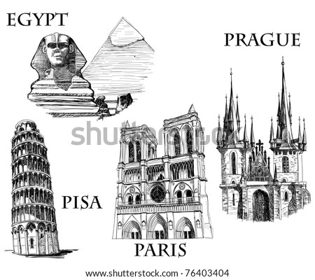 Famous buildings, famous cities sketch (Egypt, Pyramids and The Sphinx; Tower of Pisa; Notre Dame de Paris, St. Tyn Cathedral, Prague) - stock vector