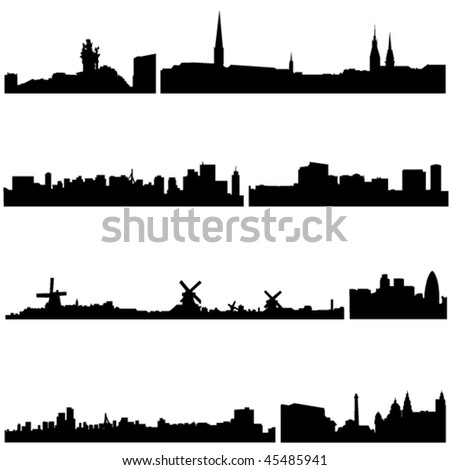 Famous buildings in European countries - stock vector