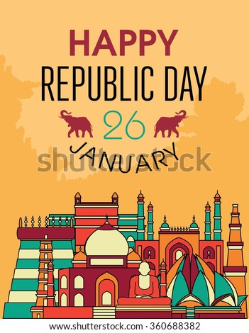 Famous Indian monuments. Vector line art. Happy republic day  - stock vector