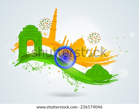 Famous Indian monuments with Ashoka Wheel on floral decorated paint stroke in national flag colors for Indian Republic Day and Independence Day celebrations. - stock vector