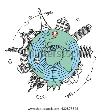 Famous landmarks and travel destinations around the globe. Travel flat line style illustration  - stock vector