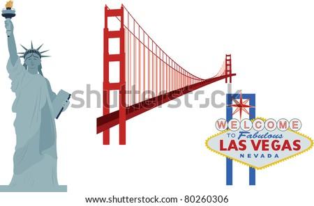 Famous landmarks, USA - Statue of Liberty, Golden Gate Bridge, Las Vegas sign (vector) - stock vector