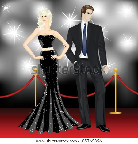 famous luxury couple, fashion woman and elegant man in front of the paparazzi on the red carpet - stock vector