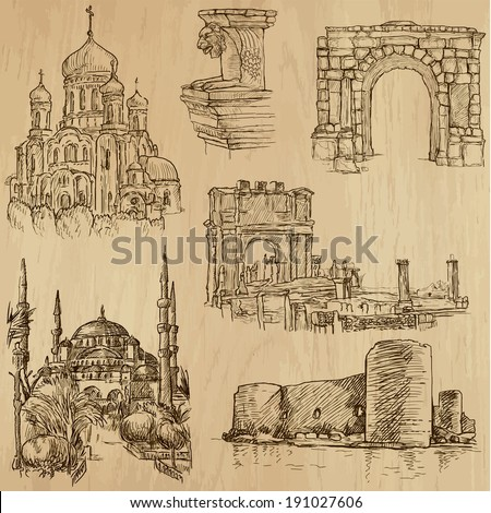 Famous places and Architecture around the World (set no.21).Collection of hand drawn illustrations (originals,no tracing).Each drawing comprise of two layers of lines, colored background is isolated - stock vector