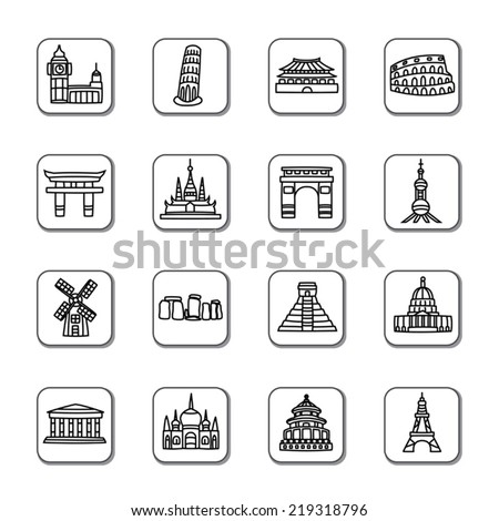 Famous Scenic Spots Doodle Icons - stock vector