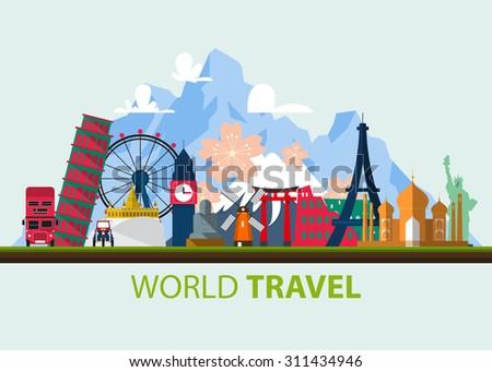 Famous world landmark icons in flat design. Vector  Illustration - stock vector