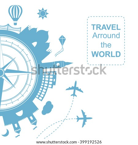 Famouse places. Travel arround the world vector illustration. Travelling by plane, airplane trip in various country.  Flat icon modern design style poster. - stock vector