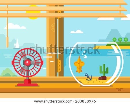 Fan and Aquarium on windowsill next to open window concept flat vector illustration - stock vector