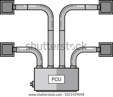 Fan Coil Unit Flat Vector Diffusers Stock-Vektorgrafik 1021439098 ...