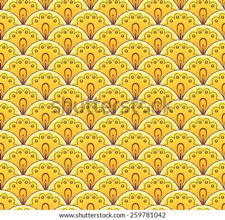 Fan decorative yellow seamless pattern - stock vector