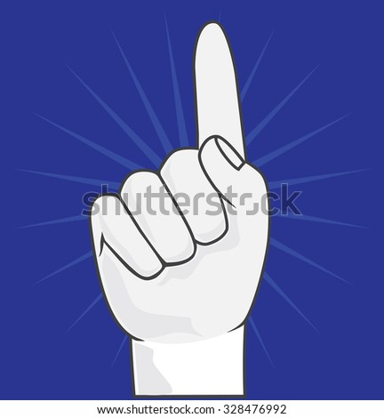 Fan hand. Foam hand on blue background vector. Number one or first place symbol.