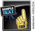 fan hand on black halftone template - stock vector