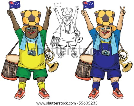 Fan of Australia,  without gradients, very easy to edit, conveniently grouped - stock vector