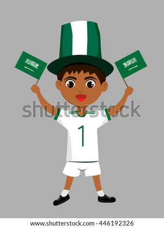 Fan of  Saudi Arabia national football team, sports. Boy with flag in the colors of the national command with sports paraphernalia.