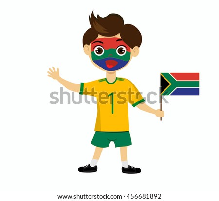 Fan of South Africa national football team, sports. Boy with flag in the colors of the state command with sports paraphernalia.