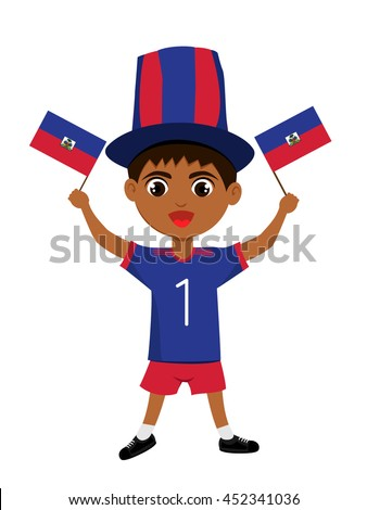 Fan of The Republic of Haiti national football team, sports. Boy with flag in the colors of the national command with sports paraphernalia.