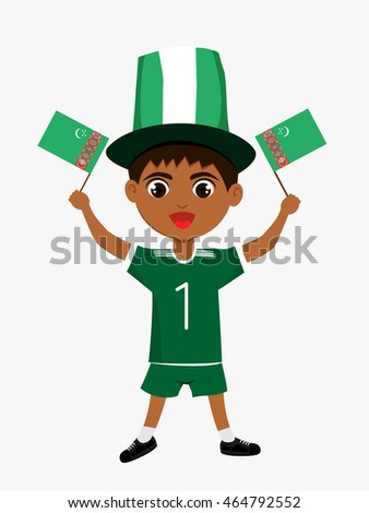 Fan of Turkmenistan national football team, sports. Boy with flag in the colors of the state command with sports paraphernalia.