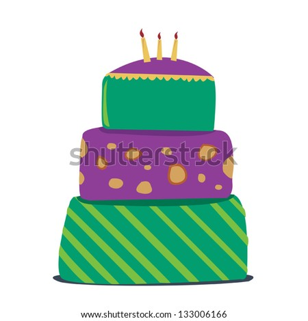 Fancy Cake Vector Graphics. Number of Candles, Colors and cake size can be changed. - stock vector