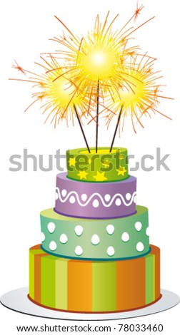 Fancy cake with fires - stock vector