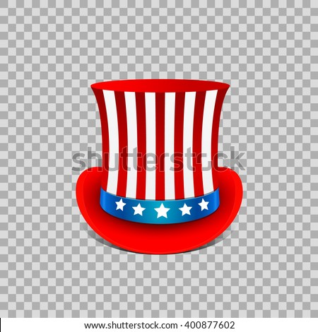 Fancy cylinder in the color of the American flag on transparent background - July the 4th icon
