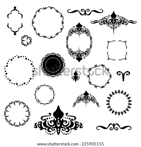 Victorian Design Elements fancy design elements vector black white stock vector 225905155