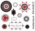 fancy, elegant, ornamental designs, stars, floral pattern, circles, seals, stamps, and compass rose vector, done in red, black and white isolated on white background - stock vector