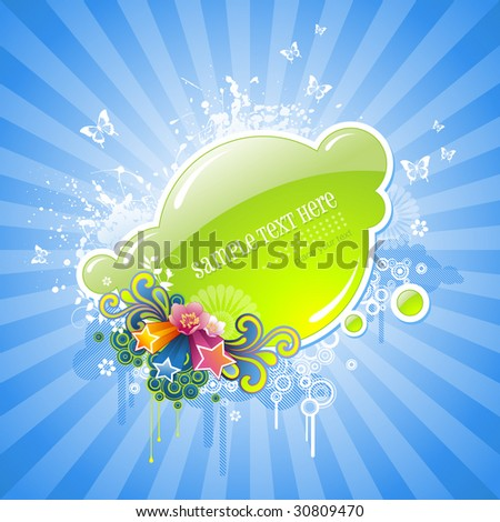 fancy floral label - stock vector