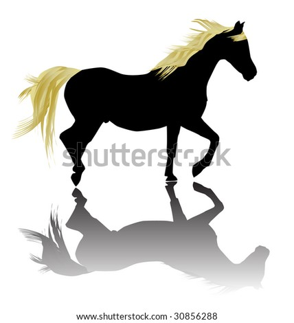 Fancy horse silhouette with reflection.All on separate layers for easy editing.