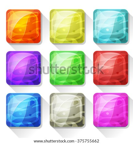 Fancy Icons And Buttons For Mobile App And Game Ui/ Illustration of a set of cartoon fancy gems and marble icons and buttons elements, with colorful tints, for mobile app and game ui on tablet pc - stock vector