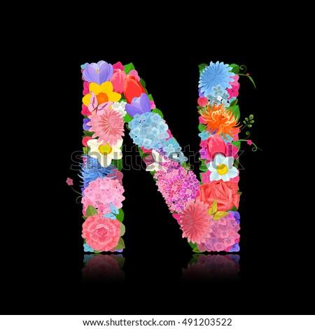 Fancy Letter Of Beautiful Flowers On Black Background N