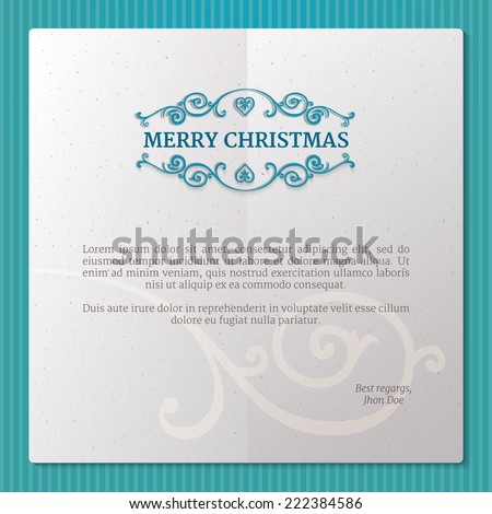 Fancy paper frame with ornate borders and text merry christmas at elegant blue background - stock vector