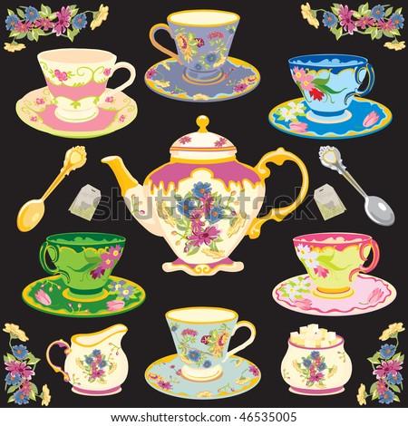 Fancy Victorian style tea service - stock vector