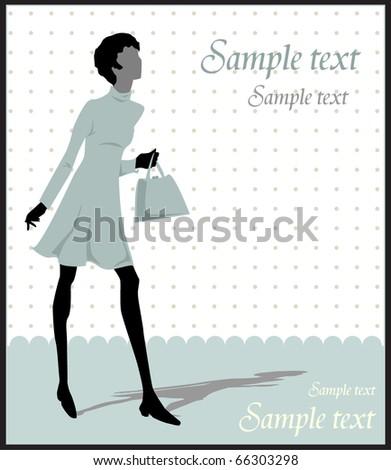fancy woman silhouette - stock vector
