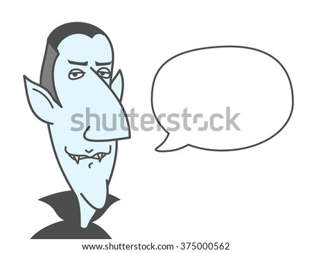 Fanny cartoon vampire with a speech bubble. Just add your text. Vector. - stock vector