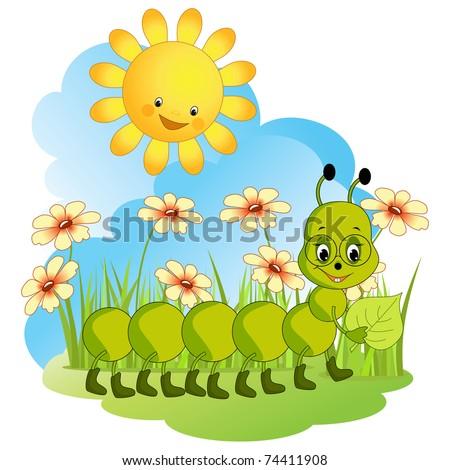 Fanny caterpillar. Baby vector illustration. - stock vector