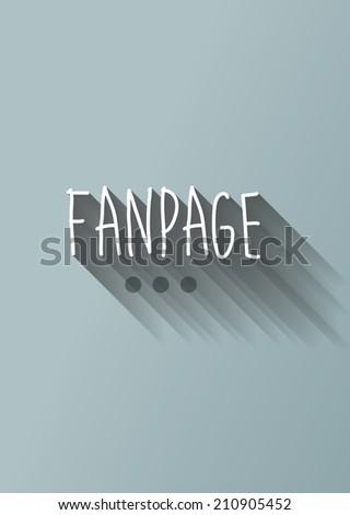 fanpage typo with shadow vector - stock vector