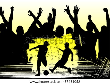 fans and soccer - stock vector