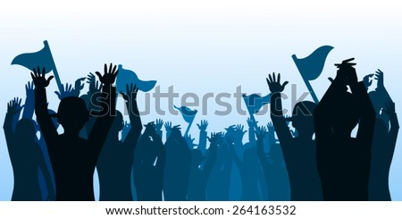 Fans cheering silhouette - stock vector