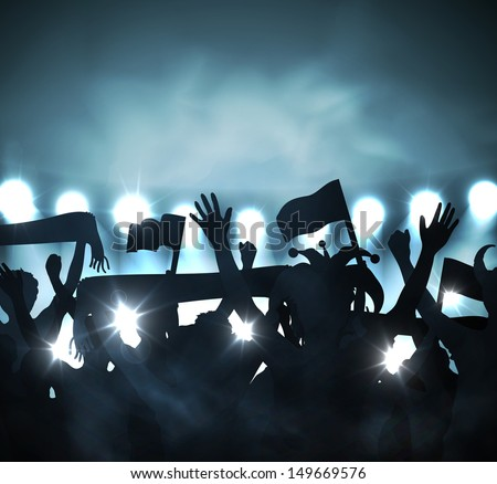 Fans in stands. Eps 10 - stock vector
