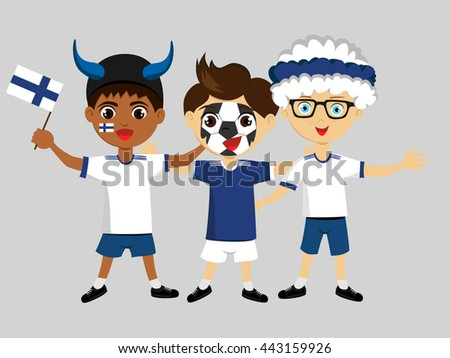 Fans of  Finland national football team, sports. Boys with flags in the colors of the national command with sports paraphernalia, wigs, hats, horns, motivational posters. - stock vector