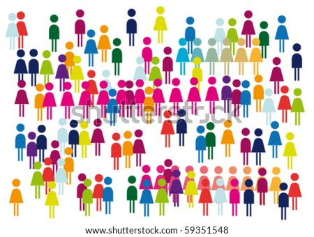 Fans, viewers, crowd of positive abstract picture. - stock vector