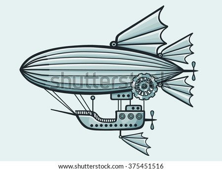 Fantastic airship. Isolated on a blue background. - stock vector